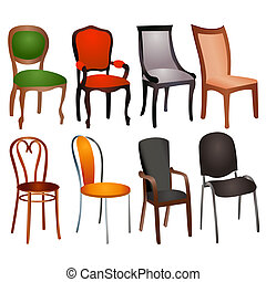 set of different chairs for home and office