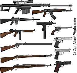 gun - Illustration set of different  guns in vector.