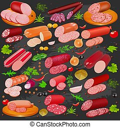 illustration set of different kinds of sausage and spices pepper