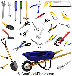 tools - Illustration set of different tools with white ...