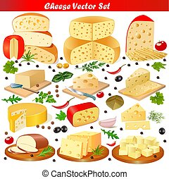 illustration set of different types of cheese on a white background
