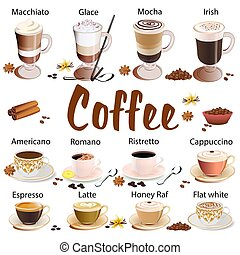 Illustration set of different types of coffee isolated on white background