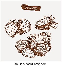 Illustration set of drawing strawberry. Hand draw illustration set for design.