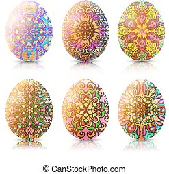 Illustration Set of Easter eggs with ornament and reflection