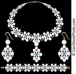 Illustration set of female pearl necklace bracelet and earrings