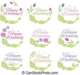 Illustration set of floral label for wedding. Vector