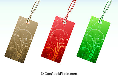 illustration Set of floral product price tags in 3 colors