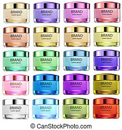 Illustration set of glass jars of different colors for beauty creams and products