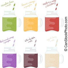 Illustration set of glass jars with colorful smoothies. Natural healthy food. Vitamin drinks smoothie on a white background. Cartoon style. Flat style smoothies.