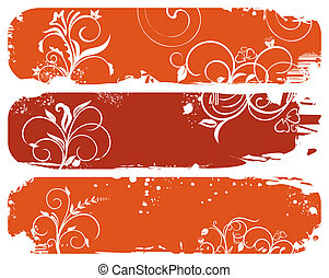 set of horizontal floral autumn banners