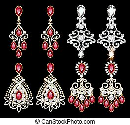 Illustration set of jewelry earrings with precious stones