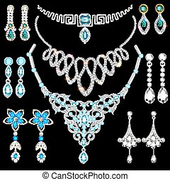 Illustration set of jewelry made of silver gold and precious stones earrings, necklace, pendants