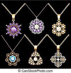 Illustration set of jewelry vintage pendants ornament made of beads of gold color and precious stones and pearls