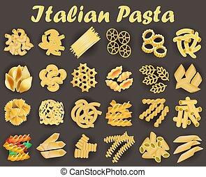 Illustration set of kinds of italian pasta