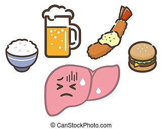 Illustration set of liver weakened by overdrinking and eating too much