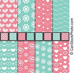 Set of love and romantic seamless backgrounds