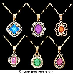 illustration set of necklace pendants jewelry made of precious stones