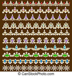Illustration set of ornamental borders of beads of gold color and precious stones and pearls