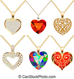 illustration set of pendants pendant with precious stones in the form of heart