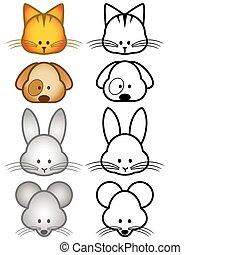 Illustration set of pet animals - Vector illustration set of...