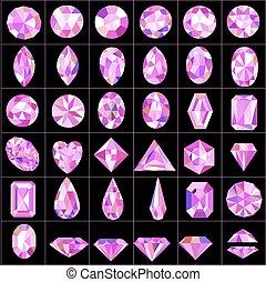 Illustration set of pink gems