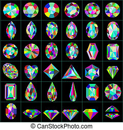 illustration set of precious and artificial stones of different cuts