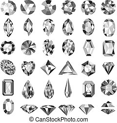Illustration set of precious stones of different cuts and shapes
