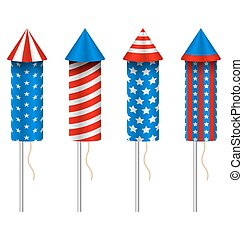 Set of Pyrotechnic Rockets, with Traditional American Design...