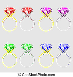 illustration set of rings with precious stones on a white...