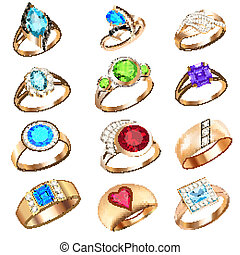 set of rings with precious stones on a white background