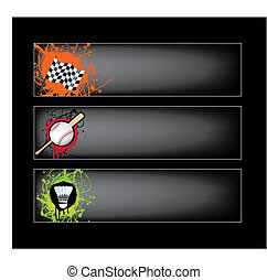 sports banners on black - illustration set of sports banners...