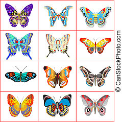 set of summer butterflies on a white background