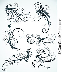 floral elements - illustration set of swirling flourishes ...