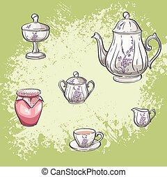 Illustration set of tea and jam jars