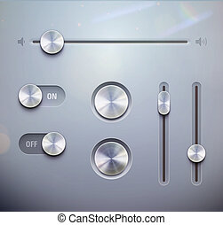illustration set of the detailed UI elements %u2013 knob, switches and slider in metallic style. Good for your websites, blogs or applications.
