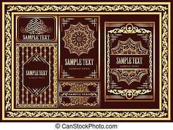 Illustration set of vintage cards and frames with gold pattern