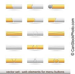 Illustration set of web elements for menu buttons