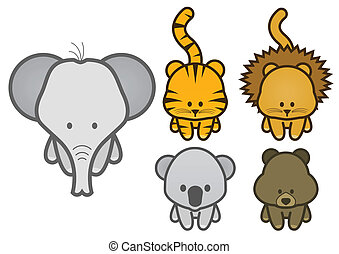 Illustration set of wild animals.