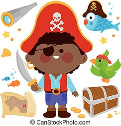 illustration, set., pirate, vecteur, capitaine, boy.