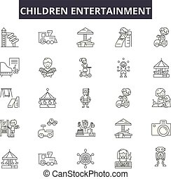 illustration:, set, plezier, schets, concept, amusement, speelbal, amusement, vector., kinderen, lijn, kind, tekens & borden, iconen