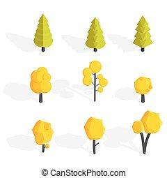 illustration, set., poly, automne, vecteur, arbres, bas