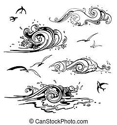 illustration., set., ręka, wektor, morze, fale, pociągnięty