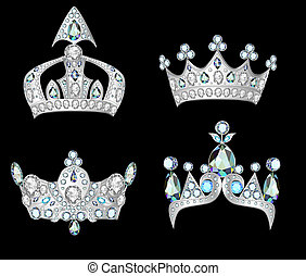 set silver crowns on black background