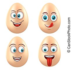 Set Smiling Funny Eggs. Positive Emotions