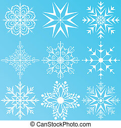 set variation snowflakes isolated - Illustration set...