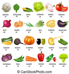 set vegetable with calories on white - illustration set ...