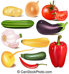 set vegetable with joint by turnip eggplant