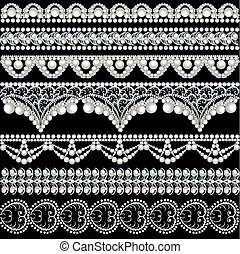 illustration set with lace ornament
