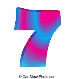 illustration., seven., vector, número, colorido, resumen