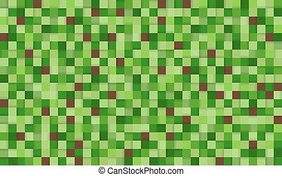illustration., shadows., quadrate, hintergrund, seamless, abstrakt, grün, brauner, pixel
